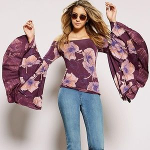 New Free People Off Shoulder w/ Flared Sleeves